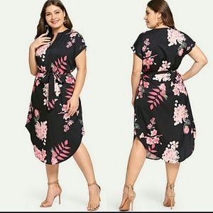 Dresses & Skirts - BLACK WITH PINK FLORAL DRESS Sz 2X,3X,4X